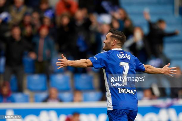 Lucas Perez of Alaves celebrates after scoring his sides first goal during the Liga match between Deportivo Alaves and Real Valladolid CF at Estadio...