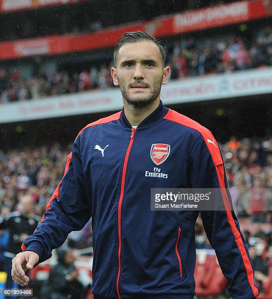 Lucas Perez of Arsenal before the Premier League match between Arsenal and Southampton at Emirates Stadium on September 10 2016 in London England