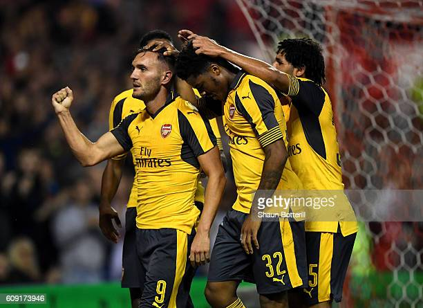 Lucas Perez of Arsenal celebrates scoring his team's third goal during the EFL Cup Third Round match between Nottingham Forest and Arsenal at City...