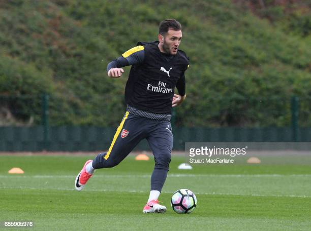 Lucas Perez of Arsenal during a training session at London Colney on May 20 2017 in St Albans England