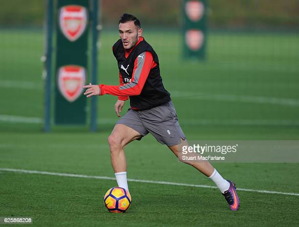 Lucas Perez of Arsenal during a training session in preparation for the Premier League match against AFC Bournemouth at London Colney on November 26,...