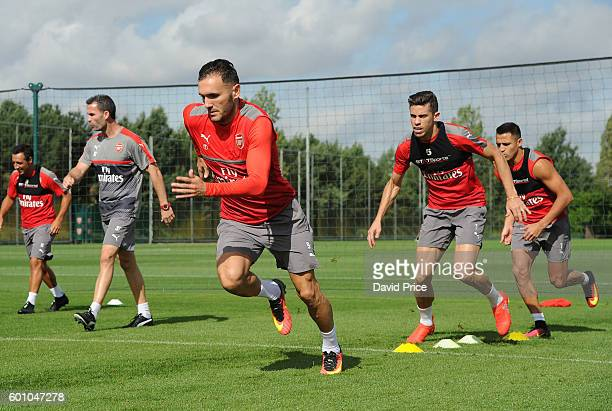 Lucas Perez of Arsenal during Arsenal Training Session at London Colney on September 9, 2016 in St Albans, England.