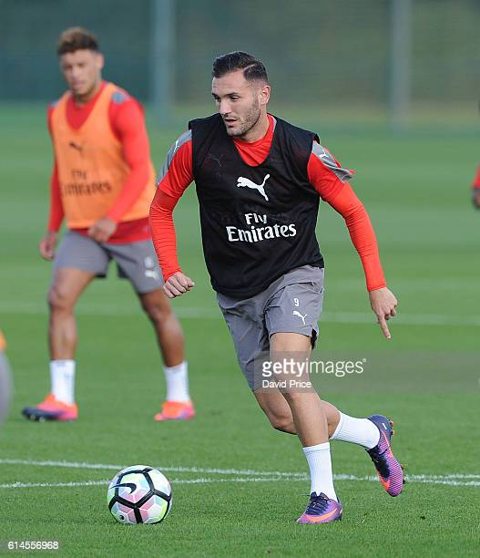 Lucas Perez of Arsenal during Arsenal Training Session at London Colney on October 14 2016 in St Albans England