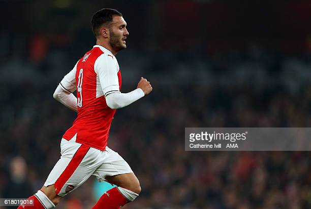 Lucas Perez of Arsenal during the EFL Cup fourth round match between Arsenal and Reading at Emirates Stadium on October 25 2016 in London England