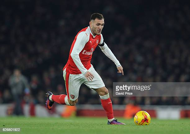 Lucas Perez of Arsenal during the EFL League Cup match between Arsenal and Southampton at Emirates Stadium on November 30 2016 in London England