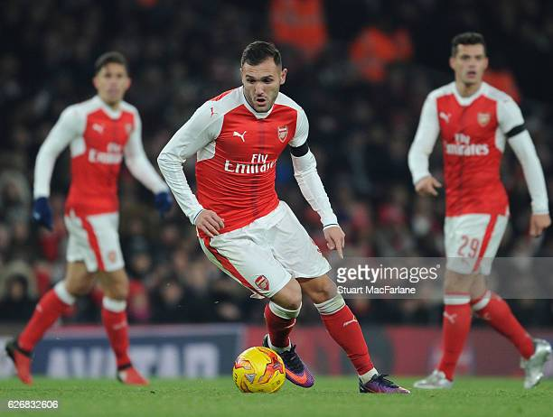 Lucas Perez of Arsenal during the EFL Quarter Final Cup match between Arsenal and Southampton at Emirates Stadium on November 30 2016 in London...