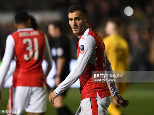 Lucas Perez of Arsenal during the Emirates FA Cup Fifth Round match between Sutton United and Arsenal on February 20 2017 in Sutton Greater London