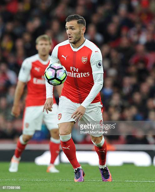 Lucas Perez of Arsenal during the Premier League match between Arsenal and Middlesbrough at Emirates Stadium on October 22 2016 in London England