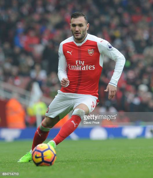 Lucas Perez of Arsenal during the Premier League match between Arsenal and Hull City at Emirates Stadium on February 11 2017 in London England
