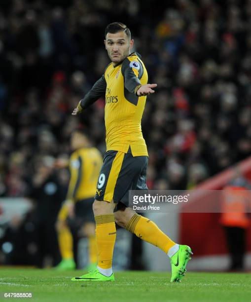 Lucas Perez of Arsenal during the Premier League match between Liverpool and Arsenal at Anfield on March 4 2017 in Liverpool England