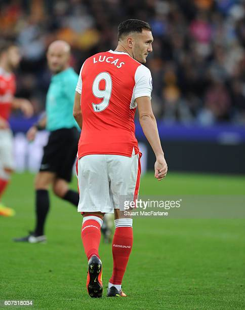 Lucas Perez of Arsenal during the Premier League match between Hull City and Arsenal at KCOM Stadium on September 17 2016 in Hull England
