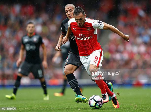Lucas Perez of Arsenal in action during the Premier League match between Arsenal and Southampton at Emirates Stadium on September 10 2016 in London...