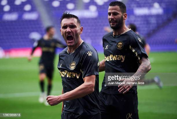 Lucas Perez of Deportivo Alaves celebrates a canceled goal during the La Liga Santander match between Real Valladolid CF and Deportivo Alavés at...