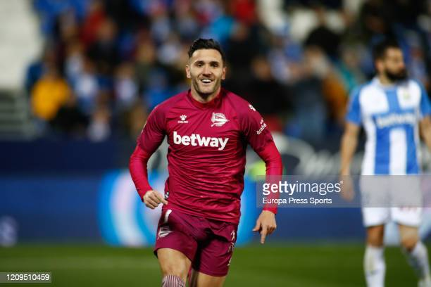 Lucas Perez of Deportivo Alaves celebrates a goal during the Spanish League, La Liga, football match played between CF Leganes and Deportivo Alaves...