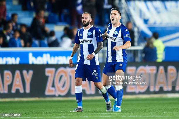 Lucas Perez of Deportivo Alaves celebrates after scoring goal during the Liga match between Deportivo Alaves and Club Atletico de Madrid at Estadio...