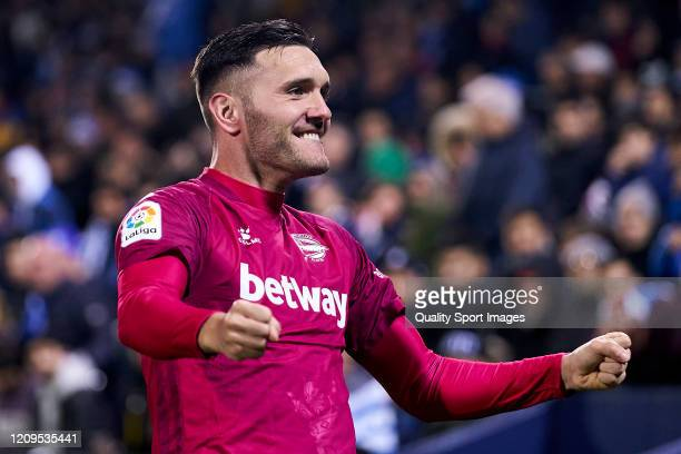 Lucas Perez of Deportivo Alaves celebrates after scoring his team's first goal during the Liga match between CD Leganes and Deportivo Alaves at...