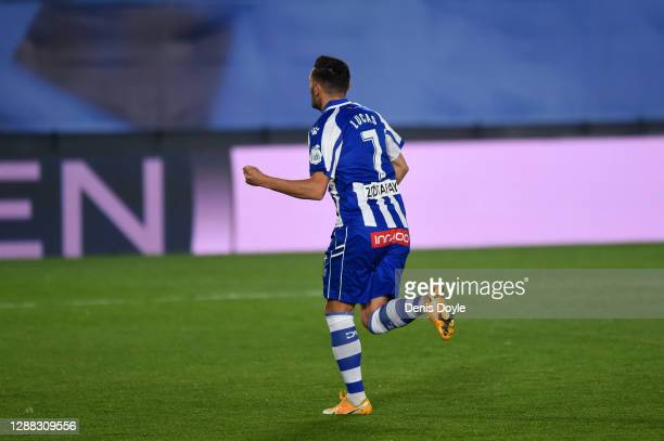 Lucas Perez of Deportivo Alaves celebrates after scoring his team's first goal during the La Liga Santander match between Real Madrid and Deportivo...