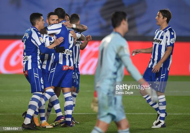 Lucas Perez of Deportivo Alaves celebrates after scoring his team's opening goal during the La Liga Santander match between Real Madrid and Deportivo...