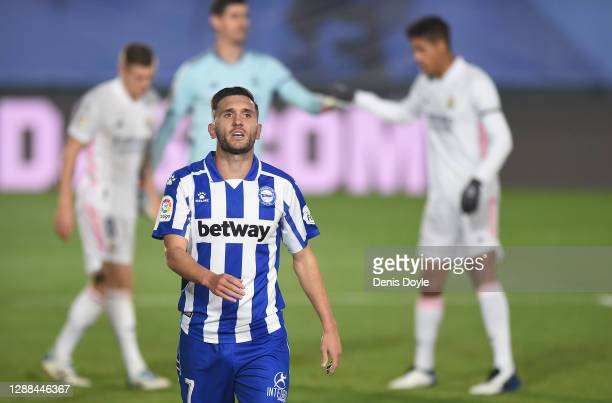Lucas Perez of Deportivo Alaves reacts after his shot at goal was blocked during the La Liga Santander match between Real Madrid and Deportivo Alaves...