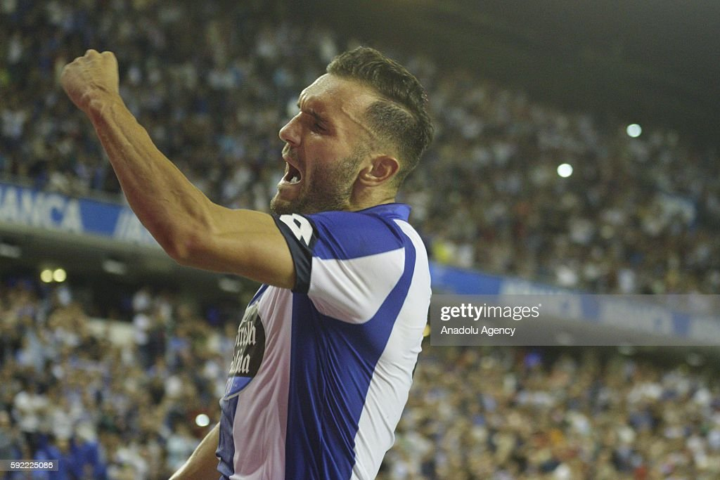 Lucas Perez of Deportivo de La Coruna celebrates a score during the Spanish La Liga soccer match at Riazor stadium in La Coruna, Spain on August 19, 2016.
