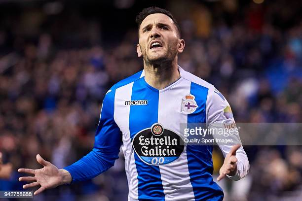 Lucas Perez of Deportivo de La Coruna celebrates after scoring his team's first goal during the La Liga match between Deportivo La Coruna and Malaga...
