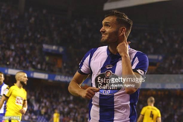 Lucas Perez of Deportivo de La Coruna gestures during the Spanish La Liga soccer match at Riazor stadium in La Coruna Spain on August 19 2016