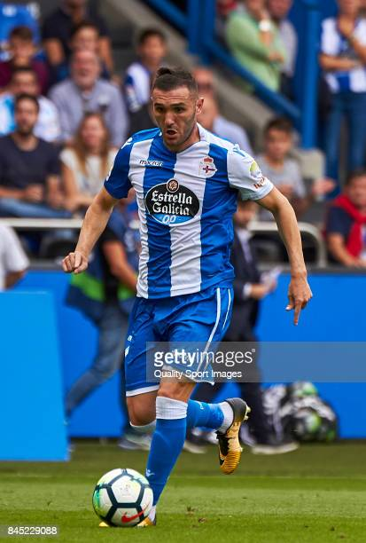 Lucas Perez of Deportivo de La Coruna in action during the La Liga match between Deportivo La Coruna and Real Sociedad at on September 10 2017 in La...