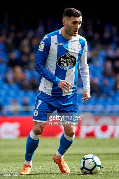 Lucas Perez of Deportivo de La Coruna in action during the La Liga match between Deportivo La Coruna and Las Palmas at Abanca Riazor Stadium on March...
