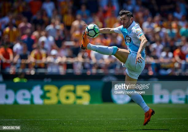 Lucas Perez of Deportivo de La Coruna in action during the La Liga match between Valencia and Deportivo La Coruna at Mestalla Stadium on May 20 2018...