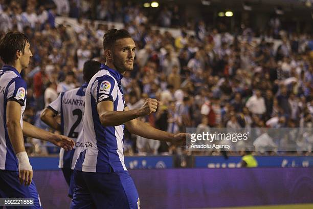 Lucas Perez of Deportivo de La Coruna is in action during the Spanish La Liga soccer match at Riazor stadium in La Coruna Spain on August 19 2016