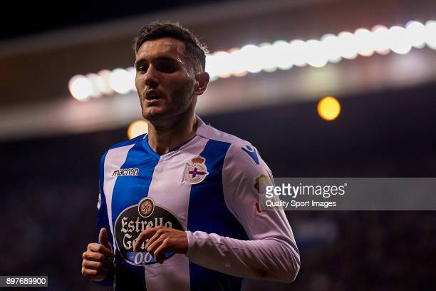 Lucas Perez of Deportivo de La Coruna looks on during the La Liga match between Deportivo La Coruna and Celta de Vigo at Abanca Riazor Stadium on...