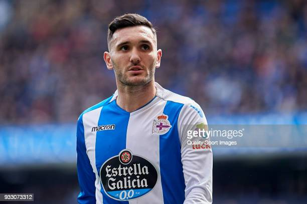 Lucas Perez of Deportivo de La Coruna looks on during the La Liga match between Deportivo La Coruna and Las Palmas at Abanca Riazor Stadium on March...