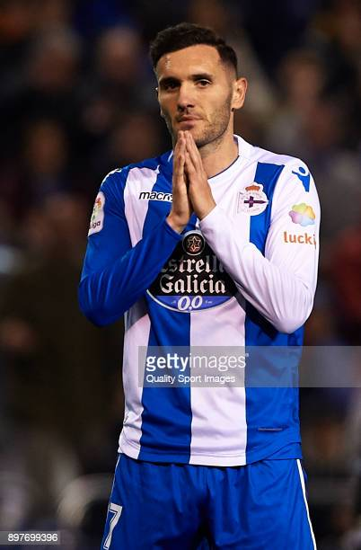Lucas Perez of Deportivo de La Coruna reacts during the La Liga match between Deportivo de La Coruna and Celta de Vigo at Abanca Riazor Stadium on...