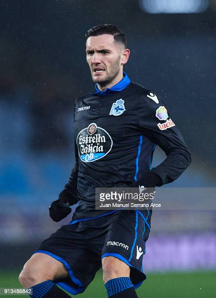 Lucas Perez of RC Deportivo La Coruna reacts during the La Liga match between Real Sociedad de Futbol and RC Deportivo La Coruna at Estadio Anoeta on...
