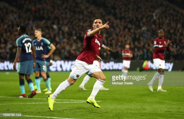 Lucas Perez of West Ham United celebrates after scoring his team's first goal during the Carabao Cup Fourth Round match between West Ham United and...