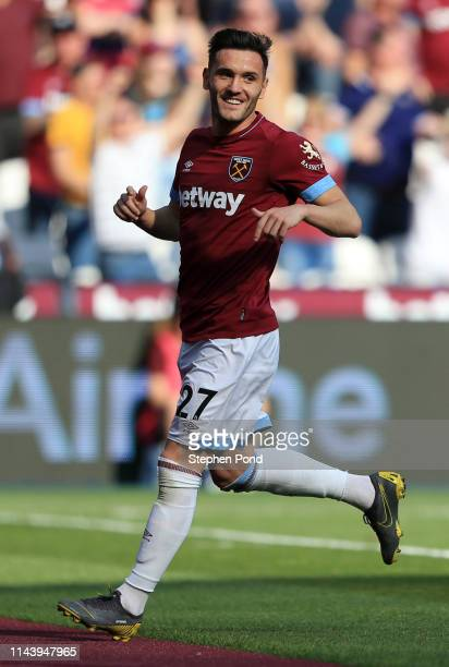 Lucas Perez of West Ham United reacts after scoring a goal which was disallowed during the Premier League match between West Ham United and Leicester...
