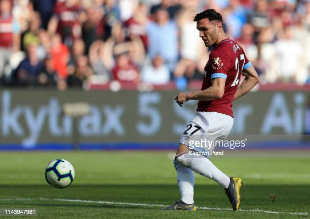 Lucas Perez of West Ham United scores a goal which was disallowed during the Premier League match between West Ham United and Leicester City at...