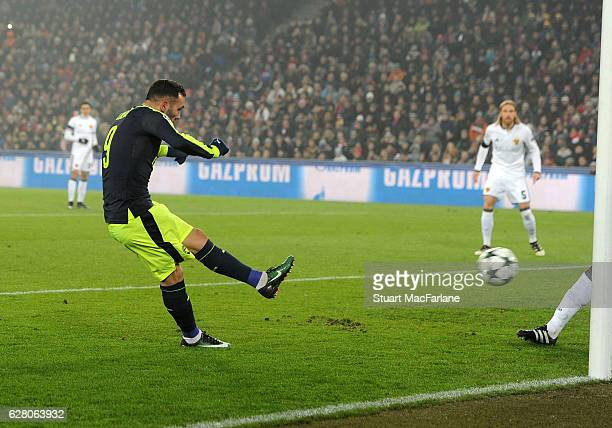 Lucas Perez scores the 1st Arsenal goal during League match between FC Basel and Arsenal at St JakobPark on December 6 2016 in Basel BaselStadt