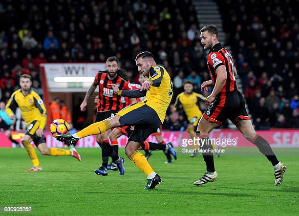 Lucas Perez scores the 2nd Arsenal goal during the Premier League match between AFC Bournemouth and Arsenal at Vitality Stadium on January 3 2017 in...
