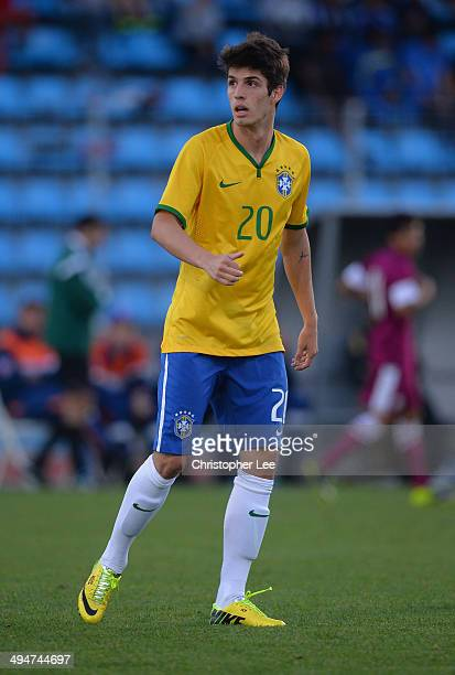 Lucas Piazon of Brazil during the Toulon Tournament Group B match between Brazil and Qatar at the Leo Legrange Stadium on May 30 2014 in Toulon France