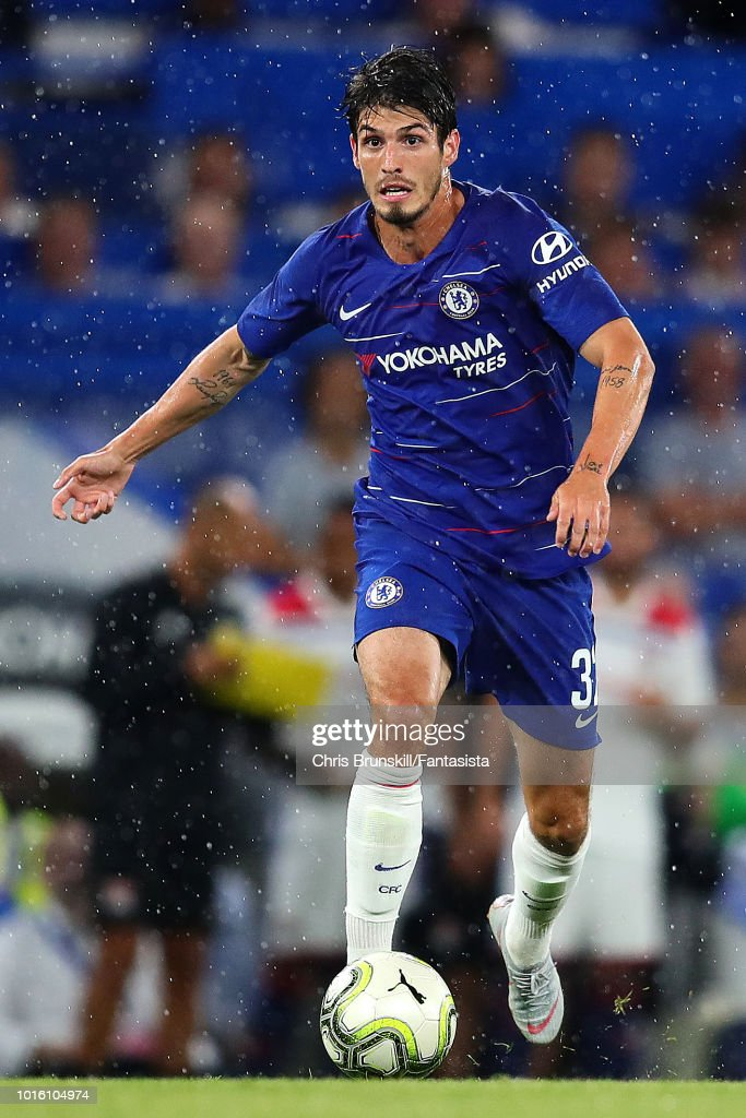 Lucas Piazon of Chelsea in action during the pre-season friendly match between Chelsea and Olympique Lyonnais at Stamford Bridge on August 7, 2018 in London, England.