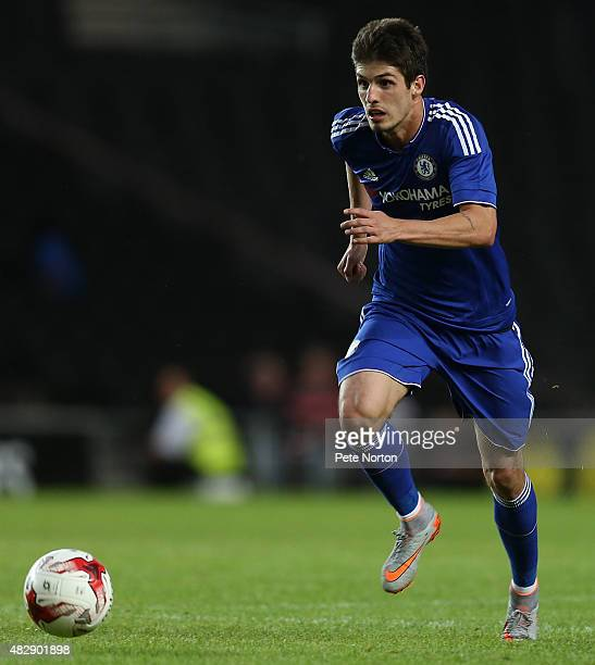Lucas Piazon of Chelsea in action during the PreSeason Friendly match between MK Dons and Chelsea XI at Stadium mk on August 3 2015 in Milton Keynes...