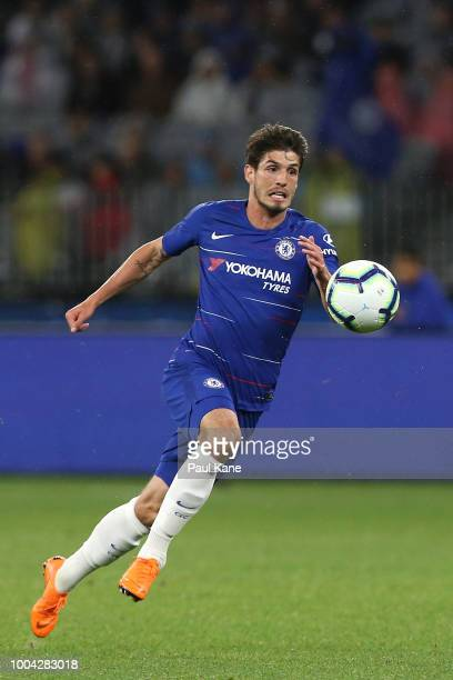 Lucas Piazon of Chelsea runs onto the ball during the international friendly between Chelsea FC and Perth Glory at Optus Stadium on July 23 2018 in...