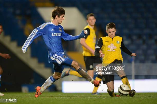 Lucas Piazon of Chelsea Youth and Will Beesley of Blackburn Rovers Youth during a FA Youth Cup Final 1st Leg match between Chelsea Youth and...