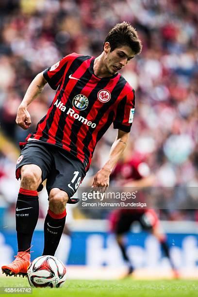 Lucas Piazon of Frankfurt controls the ball during the Bundesliga match between Eintracht Frankfurt and SC Freiburg at CommerzbankArena on August 23...