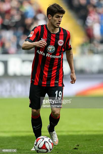 Lucas Piazon of Frankfurt controls the ball during the Bundesliga match between Eintracht Frankfurt and Hannover 96 at CommerzbankArena on April 4...