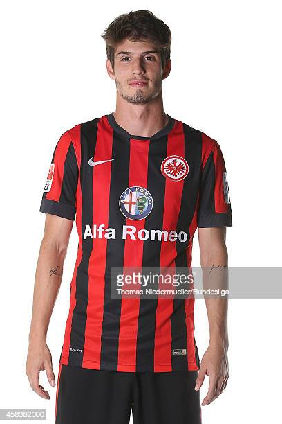 Lucas Piazon of Frankfurt poses during the team presentation at CommerzbankArena on July 29 2014 in Frankfurt am Main Germany