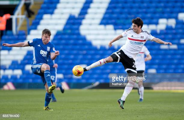 Lucas Piazon of Fulham and Stephen Gleeson of Birmingham City in action during the Sky Bet Championship match between Birmingham City and Fulham at...