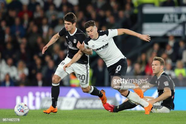 Lucas Piazon of Fulham and Tom Lawrence of Derby County during the Sky Bet Championship Play Off Semi FinalFirst Leg match between Derby County and...