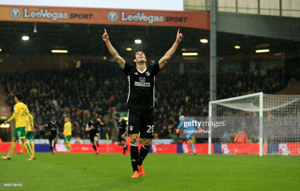 Lucas Piazon of Fulham celebrates his side's second goal during the Sky Bet Championship match between Norwich City and Fulham at Carrow Road on March 30, 2018 in Norwich, England.